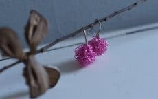 Peackock Pompom Earrings