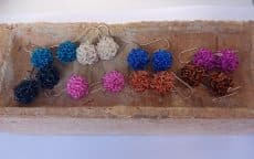 Pompoms earrings, wire earrings